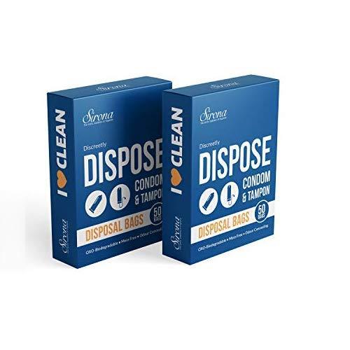 Sirona Hygienebeutel - 100 Beutel (2 x 50 Beutel) für diskrete Entsorgung von Tampons und Kondome - Badezimmer Müllbeutel