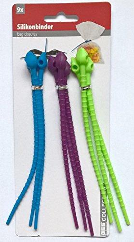 JC 138725: Silikonbinder - 9 Allzweck-Silikonbinder blau, bordeaux, limegreen (Silikonbänder Silikonschnüre Spargelbinder)