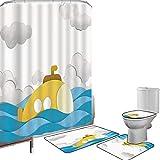 Duschvorhang Set Badezimmerzubehör Teppich Gelbe U-Boot-Dekor Badematte Contour Teppich Teppichbezug U-Boot über dem gewellten Meer & den Wolken im Himmel drucken,Senf & Blau Rutschfest wasserdich