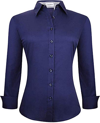 Esabel.C - Blusa de manga larga para mujer, estilo informal, con botones, Marino, L