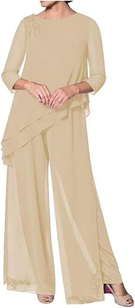 Women's Chiffon 3 Pieces Mother of The Bride Pantsuits Outfits Formal Evening Gowns Plus Size