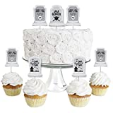 Big Dot of Happiness Graveyard Tombstones - Dessert Cupcake Toppers - Halloween Party Clear Treat Picks - Set of 24