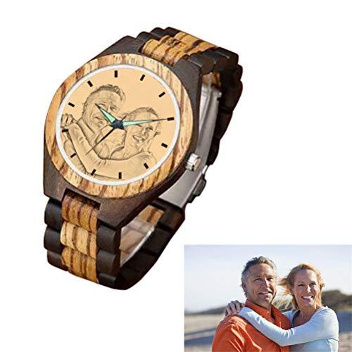 Kundengebundene gravierte hölzerne Uhr, zufällige handgemachte hölzerne Uhr für Mann-Frauen-Ehemann-Frau