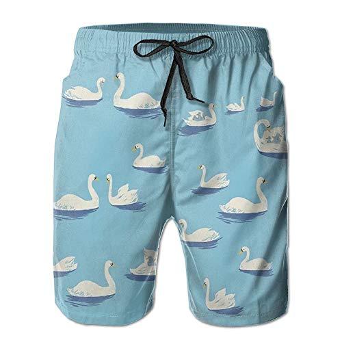Daibing Swan White Goose Pattern Casual Men's Shorts Beach Swim Trunk Summer
