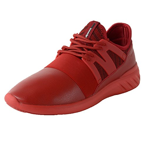 Alpine Swiss Josef Men Tennis Shoes Low Top Sneakers Flex Strap Mesh Knit Collar,Red,11 D(M) US
