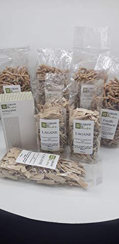 Pasta Integrale di Grani Antichi Coltivati In Azienda 4 pacchi da 500gr Fusilli trafilati al bronzo + 4 pacchi da 250gr lagane + 1 pacco da 250 gr Stelline