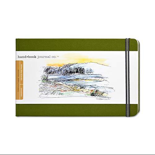 Travelogue Drawing Book, Large Landscape 5-1/2 x 8-1/4, Cadmium Green Artist Journal
