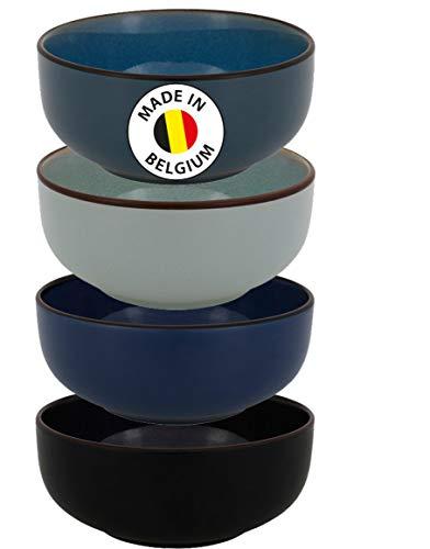 Northam 4er Set ELIN Aus Keramik Tonware Rustikalers Design Speiseteller Salatschale Suppeteller Schale Geschirr (Schale 15 cm)