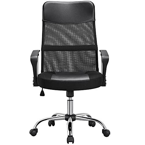 Yaheetech Bürostuhl mit hoher Rückenlehne, Schreibtischstuhl mit Wippfunktion, Chefsessel mit Kopfstütze und Armlehne, Office Chair, Gaming Stuhl Mesh Netz Schwarz