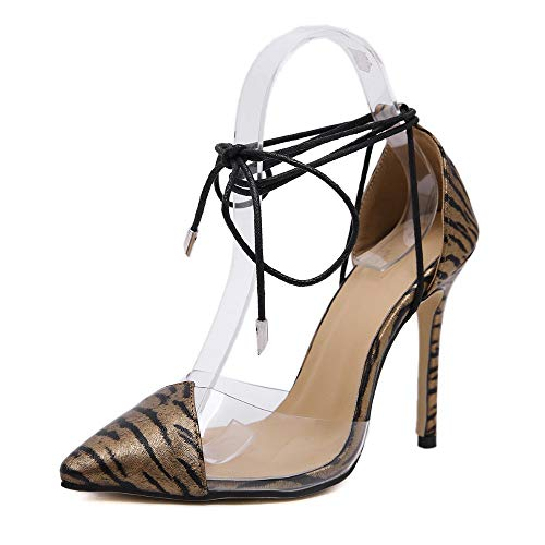 MagicXle Ladies' High-Heeled Shoes Animal Print Strap Sandals Transpar