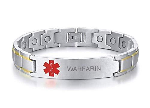 VNOX Warfarin - Pulsera de alerta médica de curación con símbolo rojo personalizado de acero inoxidable