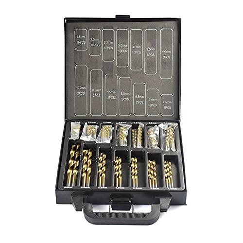 Drill Bits, 99pcs HSS Titanium Coated Drill Bit Set 1.5-10.0mm High Speed Steel Twist Drill Bit for Woodworking for Wood Plastic Aluminum (Color : 99PCS Drill bit Box)