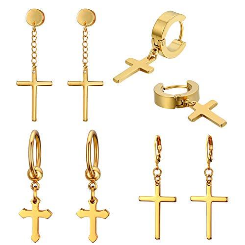 JewelryWe 4 Pairs Cross Earrings,Stainless Steel Hinged Hoop Cross Dangling Stud Earrings for Men Women(gold)