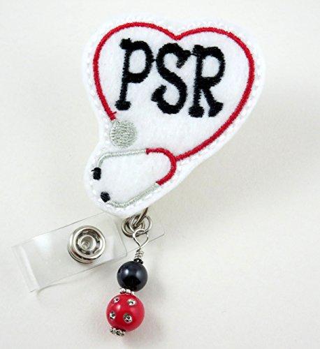 PSR Heart Stethoscope Red -Nurse Badge Reel - Retractable ID Badge Holder - Nurse Badge - Badge Clip - Badge Reels - Pediatric - RN - Name Badge Holder