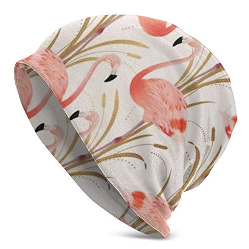 U Shape Rosa Flamingo Clipart StyleUnisex Frauen Männer Slouchy Beanie Hut Übergroße Baggy Skull Cap Stretchy Strickmütze