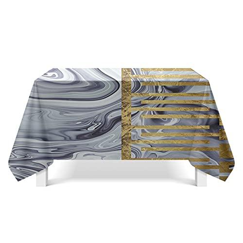 DSman Cubierta de Mesa Lavable Resistente al Aceite, Arte de Textura Dorada