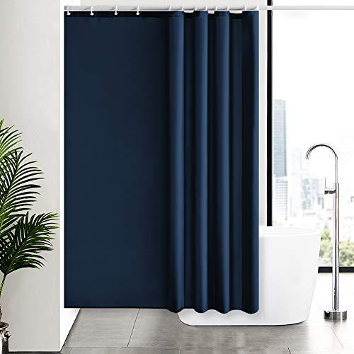 Furlinic Duschvorhang 180x180 Textil für Badewanne & Dusche in Badezimmer, Duschvorhänge aus Stoff, Anti-schimmel Waschbar & Wasserdicht, Dunkelblau mit 12 Duschvorhangringe.