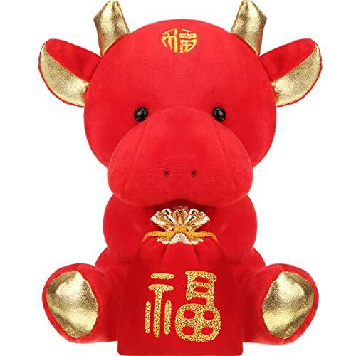 Chinesisches Neujahr Tier Plüsch Vieh Chinesisch Kuh Plüsch Glücklicher Ochse Ausgestopft Tier Ochse Spielzeug für 2021 Ochse Chinesisches Neujahr Party Hängende Dekoration, 18 cm/ 7,1 Zoll
