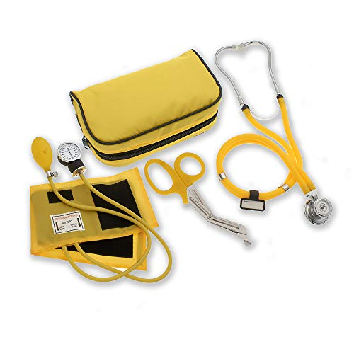 ASA Techmed Nurse EMT Starter Pack Stethoscope, Blood Pressure Monitor and Free Trauma 7.5  EMT Shear Ideal Gift for Nurse, EMT, Medical Students, Firefighter, Police and Personal Use (Yellow)