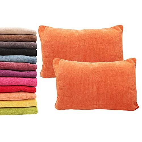 Meishida Lot de 2 housses de coussin 40 x 60 cm en tissu chenille doux avec fermeture éclair cachée pour canapé et lit Orange 40 x 60 cm