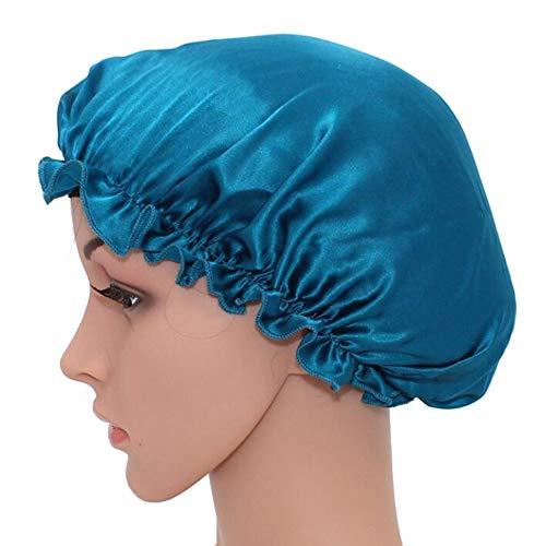 WJH Sleeping Naturel Soie de mûrier Bonnet de Nuit Bonnet Chapeau Head Couverture pour Beauty Hair avec Bande élastique pour Cheveux Perte de Sommeil Protection des Cheveux (2 pièces),Bleu