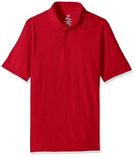 Hanes Men's Short Sleeve X-Temp W/ FreshIQ Polo, Deep Red, X-Large