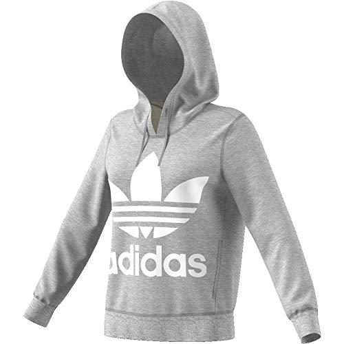 Adidas Damen TREFOIL HOODIE Sweatshirt TREFOIL HOODIE, Grau (medium grey heather), 48