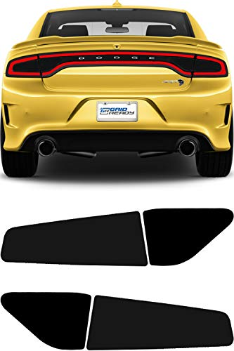 GRIDREADY 2015-2021 Dodge Charger Tail Light Tint Kit | Precut Dark Black Smoke Vinyl Overlays for 15-20 Dodge Charger Taillight | Tinted Dry Application Film
