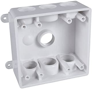 Hubbell-Bell PDB77550WH Weatherproof Box with 1/2-Inch or 3/4-Inch Outlets, White