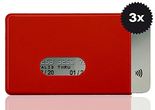 OPTEXX® RFID-Schutzhülle TÜV geprüft & zertifiziert Fred Rot für Kreditkarte | EC-Karte | Personal-Ausweis aus Hart-Plastik-Hülle sicheres Blocking von Funk Chips (Rot 3x)