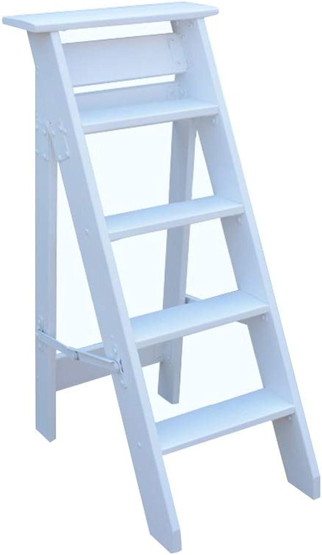 Bseack_store Ladders Herringbone Herringbone Herringbone Ladder, Solid Wood 5 Steps Onesided Foldable Ladder For Attic Ascend (color   White) 8b84f0