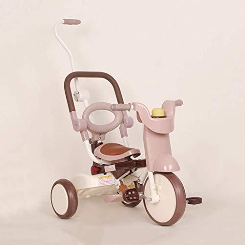 HKX Triciclo, Triciclo multifunción para niños, Cochecito Plegable, Bicicleta de Tres Ruedas para Exteriores para bebés, 2 Colores (Color: Café)