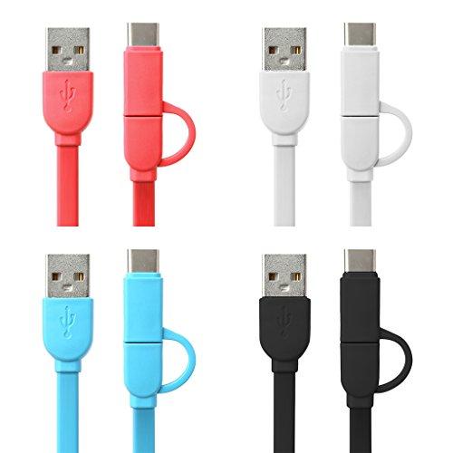 Freshsell 1m Micro USB+Type C 2-In-1 data-oplader opladen TPE platte kabel voor Android-telefoon, One szie, Zwart