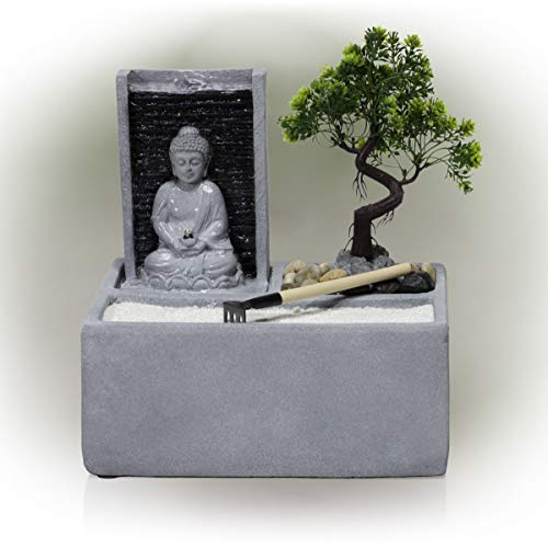 Alpine Corporation DIG278 Alpine Buddha Bonsai Garden LED Lights Tabletop Fountain, Gray