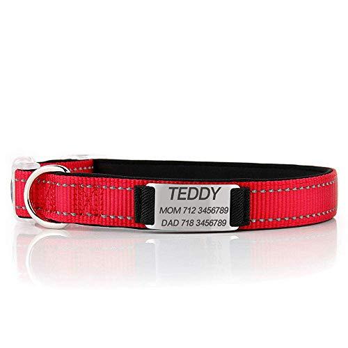 N-brand Collar para perros personalizado, collar para perros personalizado reflectante con nombre de teléfono, collar de identificación ajustable para perros