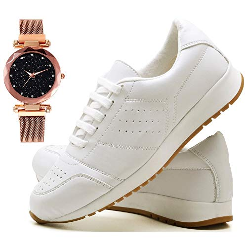 Tênis Sapato Casual Com Relógio Pulseira fechamento magnético Feminino JUILLI 1102DB Tamanho:34;cor:Branco;gênero:Femini
