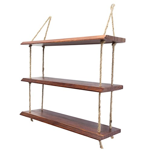 ZfgG houten wandplank met hennep touw planken muur opknoping voor woonkamer als boekenplank opslag rek gemonteerd klapbord decoraties ontwerp 3 tiers #1