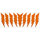 LiteMark Reflective Orange 4 Inch Lightning Bolt Sticker Decals for Electrical Hard Hat Helmets Bikes - Pack of 9