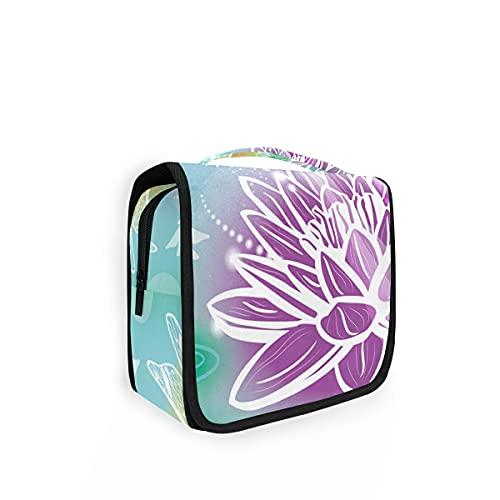 Bolsa de aseo de viaje para colgar 23 flores coloridas Lotus y libélula Kit de maquillaje Estuche organizador de cosméticos para hombres y mujeres