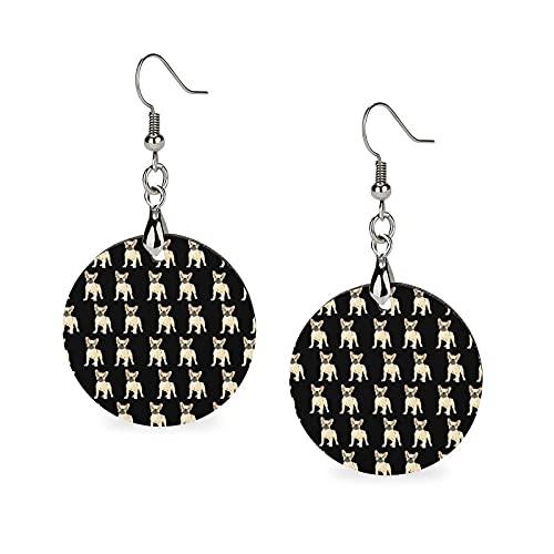 Womens Lightweight Wooden Round Earrings Ear Decor for Wedding Party (French Bulldog Lovely Earrings)