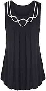 Lookatool Vest Blouse Top Tunic Shirt Women Sleeveless O-Neck Pure Color Plus Size
