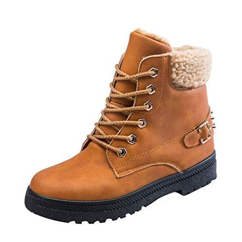 XIALIUXIA Invierno Mujer Botas Nieve Cuero Calientes Botines, Cordones Planas Plataforma Boots Ocasional Impermeable Anti Deslizante Zapatos,C,36