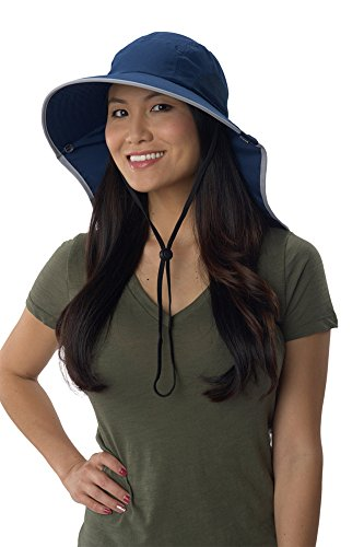 Sun Protection Zone Unisex Floppy Sun Hat (Navy with Silver Trim)