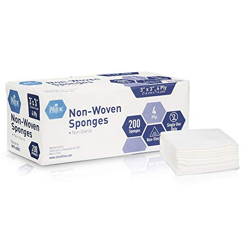 Medpride Surgical Sponges 3'' x 3'' 200 Pack - Gauze Pads Non sterile - First Aid Wound Care Dressing Sponge – Νοn-Woven Medical, Non-Adherent Mesh Bandages – Absorbent for Injuries – 4 Ply