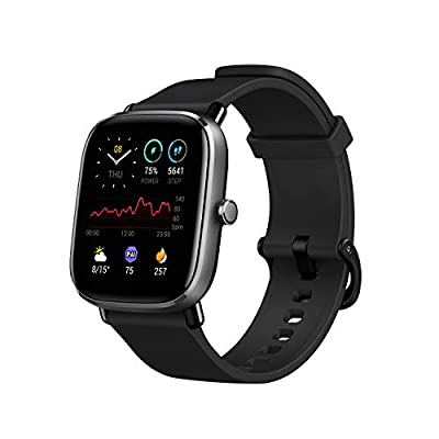 Amazfit GTS 2 Mini Fitness Smart Watch, Super-Light Thin Design, 14-Days Battery Life, 70+ Sports Modes, SpO2 Level Measurement, Heart Rate, Sleep, Stress Level Monitoring (Midnight Black)