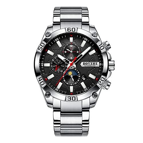 JTTM Hombres Automático Mecánico Reloj Luminoso Negocios Casual Relojes De Pulsera Marca De Lujo Acero Inoxidable Moda Fase Luna Deportes Relojes,Silver Black