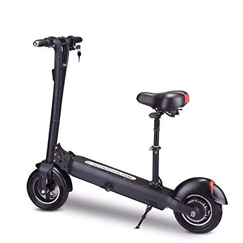 ZLYJ Patinete Electrico Plegable Scooter Electrico con Asiento Extraíble, Velocidad Máxima 30km/h, Suspensión Delantera Trasera y Sistema Freno Disco, Conducción Segura