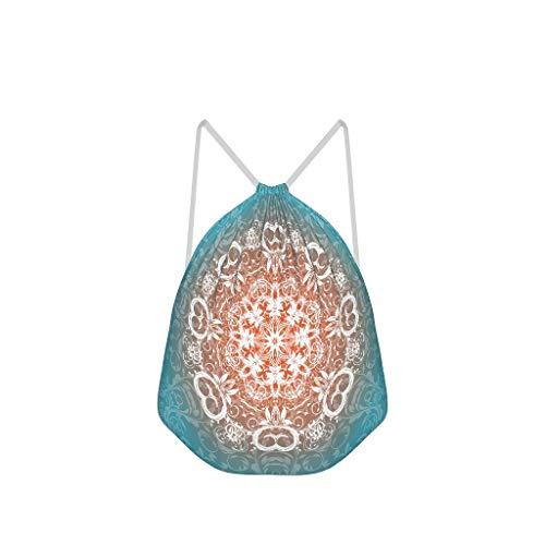 NC83 6-pack groene mandela trekkoord tas mode polyester sporttas tas yoga voor kinderen 41x34cm (aanpasbaar/groothandel) Eén maat wit