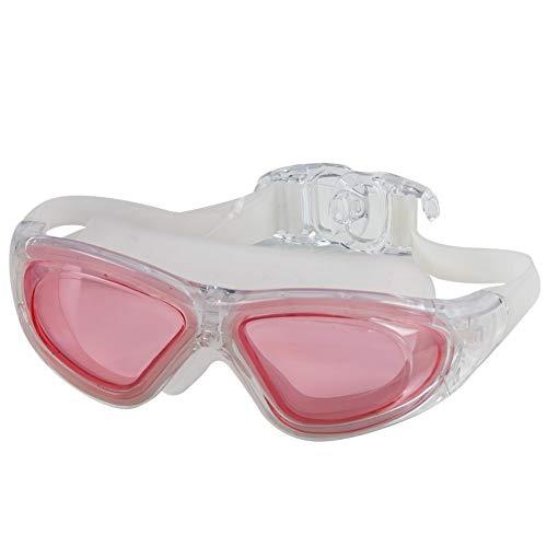 MHP zwembril volwassen galvaniseren zwemmen professionele platte licht waterdicht anti-mist unisex groot frame duikbril roze