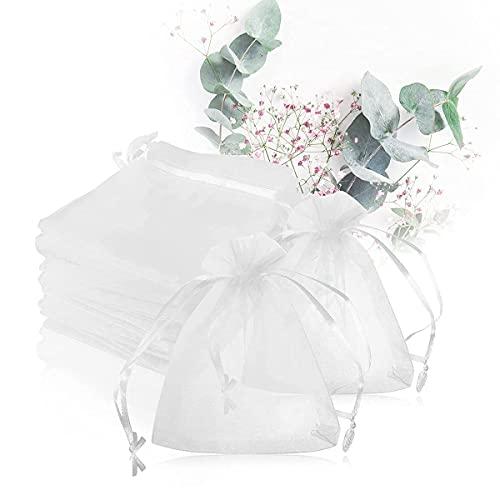 Magicfour 50枚 オーガンジー巾着 巾着袋 ラッピング袋 匂い袋 10*12㎝ 可愛い 無地 透明 大 誕生日 結婚式 ウェディング お祝い用 プレゼント プチギフト ジュエリー アクセサリー 小物包装